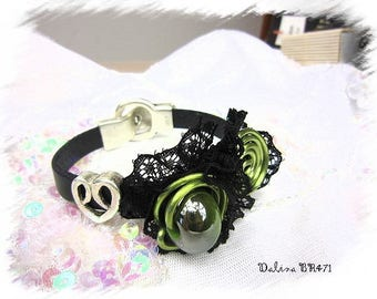 Aluminum black leather lace BR471 and lime green *.