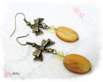 caramel colored BO511 tinted Pearl Earrings