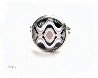 ring adjustable grey black white graphic BA135