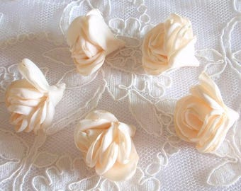 5 Larger Singed Flower Buds Singed Rose Fabric Flower Fabric Rose Satin Flower Satin Roses (1.5inch ) MY- 656-02 Ready To Ship