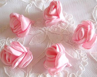 5 Larger Singed Flower Buds Singed Rose Fabric Flower Fabric Rose Satin Flower Satin Roses (1.5inch ) MY- 656-01 Ready To Ship