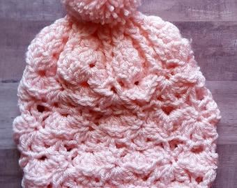 Lacy Slouch Crochet Hat Child
