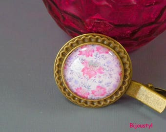 "Fancy brooch - Cabochon 25 mm - ""Tapestry rose"" - bronze"
