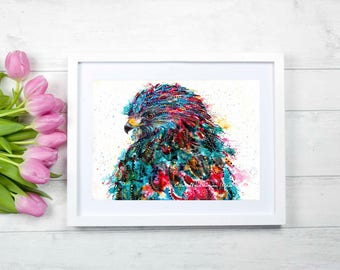 Hawk art print - hawk painting, raptor artwork, hawk watercolor, hawk spirit animal art, hawk totem art, bird lover art gift