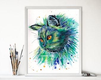 Cat art print: Cat gift idea nursery animal art cat artwork cat lover gift cat decor cat ears cat art cat watercolor