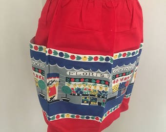 1950's Vintage Novelty Half Apron Pinny Red With Shop Front Design