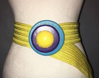 Yellow Art Deco belt
