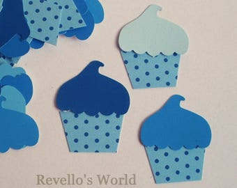 12 die cut cupcakes/muffins blue