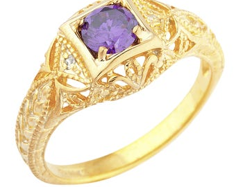 14Kt Yellow Gold Plated Amethyst & Diamond Round Ring