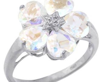 5 Hearts Natural Mercury Mist Mystic Topaz & Diamond Heart Flower Design Ring .925 Sterling Silver