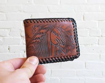 Tooled leather bifold horse wallet burning art southwestern vintage money card holder
