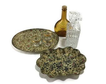 Vintage Paper Maché Alcohol Proof Serving Trays * Set of 2 * Highmount * Alfred Knobler