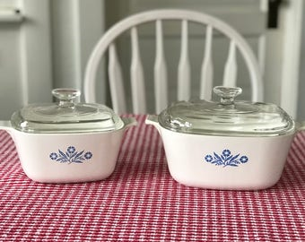 Vintage Corning Ware Blue Cornflower Baking Dishes * Square 1-3/4 Quart and 2-1/2 Quart Casseoles with Lids  * Storage Containers