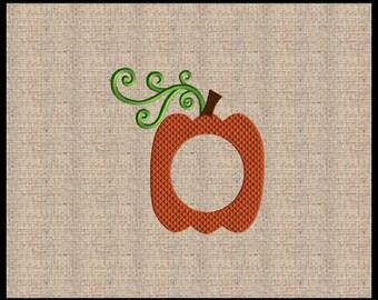 Pumpkin Font Frame Embroidery Design Mini Pumpkin Embroidery Design Fall Embroidery Design Thanksgiving Embroidery Design 5x7 6x6