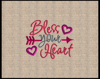 Bless your Heart Machine Embroidery Design Valentine Embroidery Design Arrow Embroidery Design Heart Embroidery Design