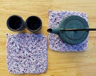 Set of 2 Crochet Pot Holders/Hot Pads, homemade, handmade, hostess gifts, housewarming gift, purple, blue and white kitchen