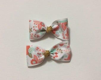 Set of TWO bows - Piglet style Aqua gold coral piglet set