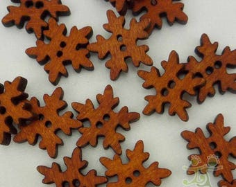 10 x Brown Snowflake Wooden Buttons 18mm 2 hole - Natural Christmas Winter Festive Xmas Decorative Children Craft Scrapbooking Sewing