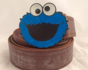 Leather Belt ~ Belt Buckle ~ Mens Brown Leather Belt ~ Cookie Monster belt ~ Handmade Belt ~ Made to Measure Belt ~ Sesame Street Leather