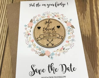 Flower wreath save the date magnet