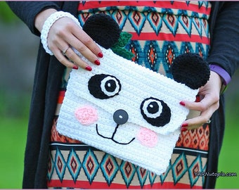 Ready to Ship Panda Clutch Purse Handmade Crocheted Bear Handbag