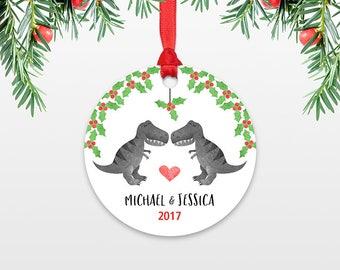 Personalized Christmas Ornaments T-Rex Dinosaur Couple Wedding Christmas Ornament Engagement Ornament Engaged Ornament Christmas Decoration