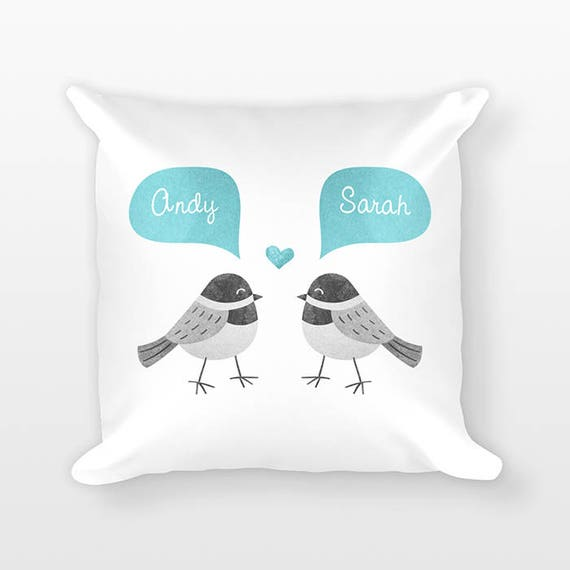 CHICKADEE BIRD Pillow, Animal Couple Pillow, Personalized Pillow, Anniversary Gift for Wife, Custom Throw Pillow, Decorative Pillow for Bed