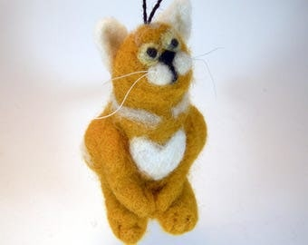 Needle felted cat/cat figurine collectible/hanging ornament cat/cat lovers gift/orange kitty/orange white cat/kawaii cat/cat statuette/
