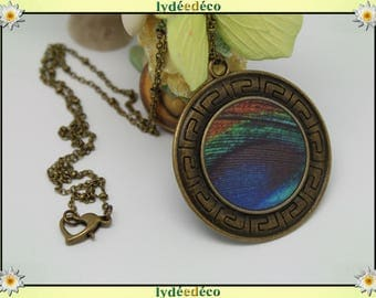 Necklace vintage retro ethnic feathers of Peacock green blue Brown Tan brass resin heart pendant 40mm ball chain
