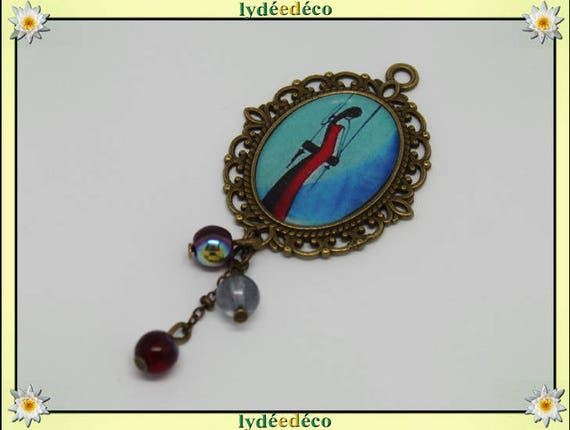 Women black blue red swing brooch charm retro vintage bronze lace Pearl resin
