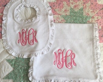 Ruffled Bib and Burp Cloth