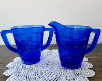 Cobalt Blue glassTexas Alamo Centennial Cream and Sugar Set 1836-1936