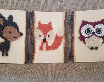 Woodlands Deer, Fox, and Owl String Art Nursery Set on Tree Bark Plaque