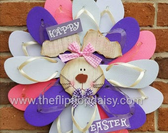 CUTE Handmade Easter Flip Flop Wreath Pink & Purple Bunny