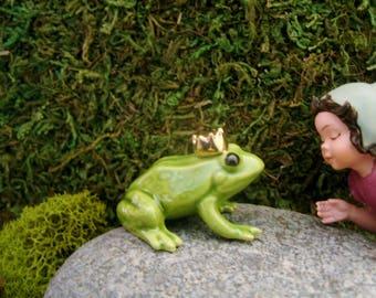 Frog Prince - Fairy Garden - Terrarium - Bonsai - Succulent - Miniature Gardening - Fine Porcelain Figurine
