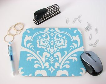 Mouse Pad in Light Sky Blue & White Damask; Cubicle Decor, Coworker Gift, Desk Accessories, Dorm Room, Mousepad, Mouse Mat, Mouse Pads