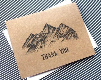 100 Thank You Cards, Bulk Thank You Cards, Mountain Wedding, Mountain Thank You, 100, Thank You notecard, Thank You Card Set, Thank you note