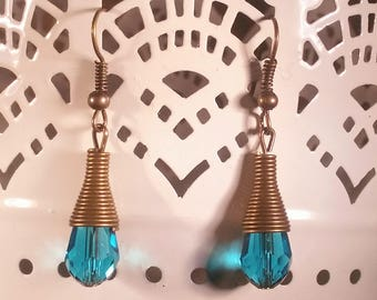 Dangle Drop Earrings, Faceted Blue Teal Glass Bead Crystal, Antique Bronze Cone-Shaped Findings, Bronze Ear Wires