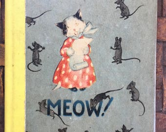 Meow, Ida Bohatta Morpurgo, 1943, Rare Tiny Book, Anthro Cats and Dogs, Sweet Miniature, Gift Display Still Life