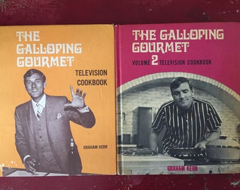 Galloping Gourmet Cook Books, S/2, 1969, Television TV Personality, Mid Century, Photos, Recipes, Graham Kerr