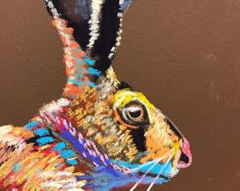 Jack Be Nimble, Original Fine Art Pastel, Rabbit , Bunny, Hare