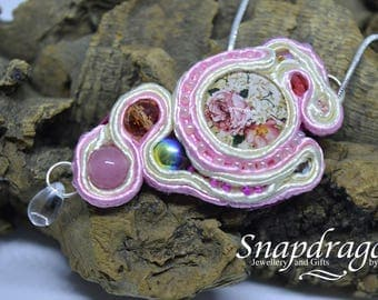 Pretty in pink Soutache pendant backed with hot pink suede.