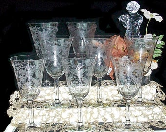 Set Of 8 Fostoria Oriental Etched Water Goblets