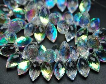 20 Pcs,Rainbow Quartz Faceted Dew Drops Briolettes 15-16mm Size