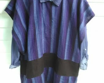 Blues of the Sea Striped Rayon and Linen Caftan Tunic Top