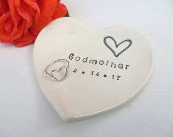 Godmother Gift, ring dish, ring holder, Baptism Gift, gift for Sponsor, Personalized heart dish, White pottery, Gift Boxed, Made to Order