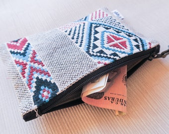 Zipper Card Holder, Abstract Mens Wallet, Little Womens Coin Purse, Small Aztec Change Pouch, Useful Gift for Him & Her