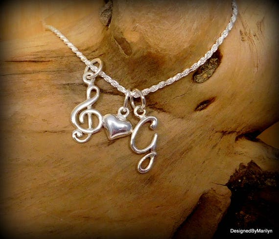 Sterling Sterling silver treble clef necklace, musician necklace, personalized music necklace, music student, music instructor