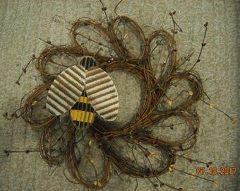 Flower Shaped Wreath,Lightweight,Summer Spring Wall Decor,Bee,Pip Berries,Yellow,burgundy,Cream
