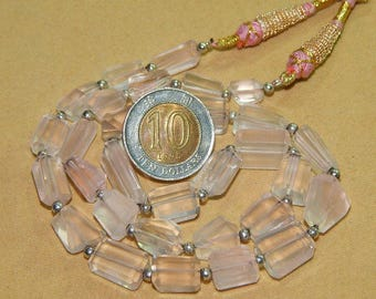 Wow Very Rare Genuine Rose Quartz Gemstone Faceted Nugget Beads Necklace AAA Excellent Quality On Wholesale price.